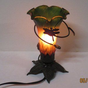 Vtg Green/Gold Trumpet Tulip Lily Fairy Lamp
